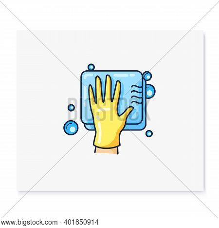 Cleaning Sponge Color Icon. Wiping With Sponge. Housekeeper Hand In Yellow Glove With Sponge. Wet Cl