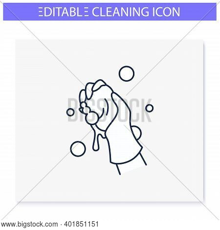 Wet Cleaning Line Icon. Wiping With Cloth. Housekeeper Hand In Glove Squeezes A Rag. Housekeeping An