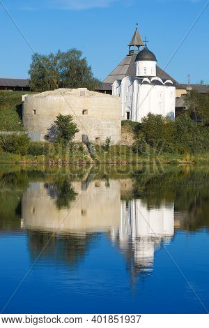 Medieval Church Of St. George In The Old Ladoga Fortress On A Sunny Summer Morning. Leningrad Region