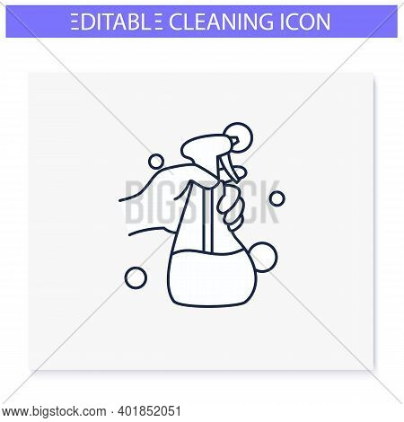 Cleaning Sprayer Line Icon. Detergent, Cleanser, Sanitizer. Housekeeper Hand With Bottle. Wet Cleani
