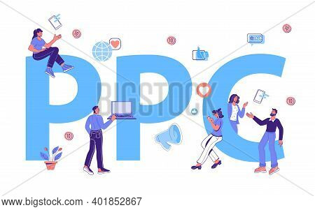 Pay Per Click Banner With Tiny Business People Next To Giant Ppc Word. Ppc Business Marketing Techno