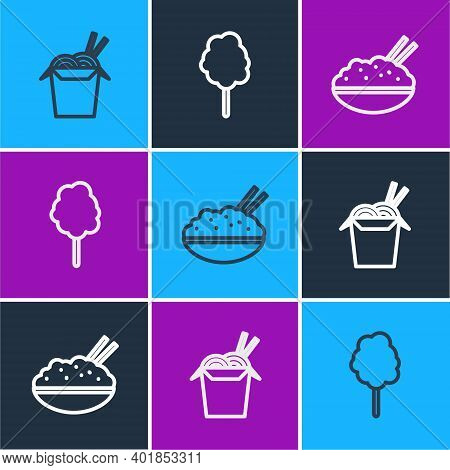 Set Line Asian Noodles And Chopsticks, Rice In Bowl With And Cotton Candy Icon. Vector