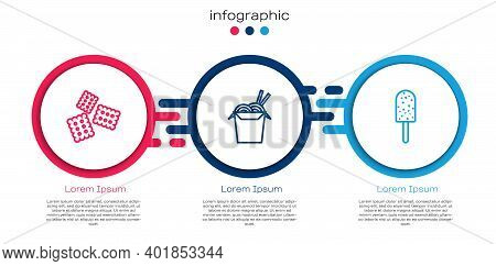 Set Line Cracker Biscuit, Asian Noodles And Chopsticks And Ice Cream. Business Infographic Template.