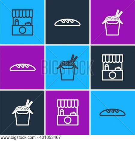 Set Line Street Stall With Awning, Asian Noodles And Chopsticks And Bread Loaf Icon. Vector