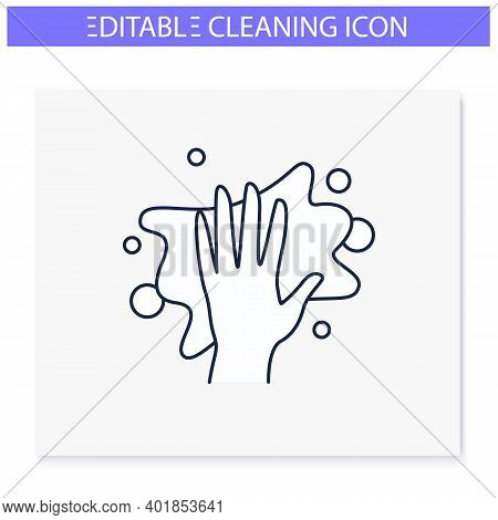 Cleaning Napkin Line Icon. Wiping With Cloth. Housekeeper Hand With Rag. Wet Cleaning. Housekeeping