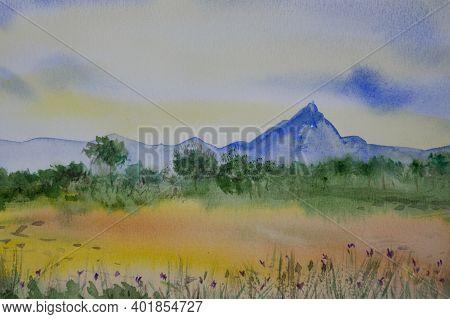 A Distant Blue Mountain Landscape Watercolor Illustration