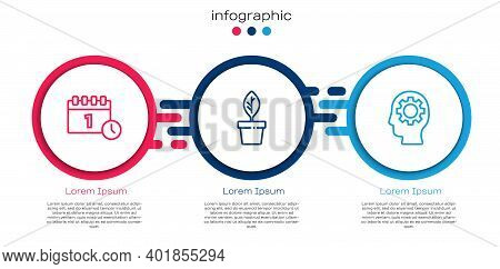 Set Line Calendar First September Date, Plant In Pot And Head With Gear Inside. Business Infographic