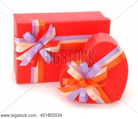 Two Red Gift Boxes With Ribbon Isolated On White Color Background.