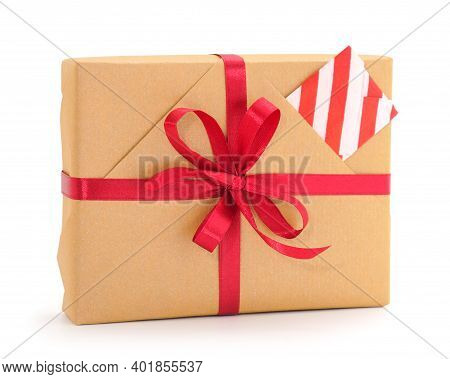 Gift Box, Gift On A White Background Isolated. Vacation. Valentine's Day. Women's Day. Mothers Day.