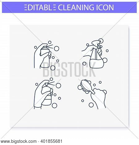 Surface Wiping Line Icons Set. Housekeeper Hand In Glove Collection.cleaning With Detergent, Spray A