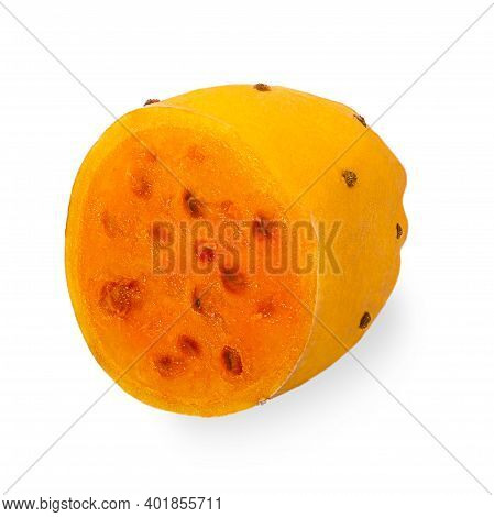 Isolated Opuntia Fruits. One Cut In Half Yellow Prickly Pear Cactus Fruit On White Background With C