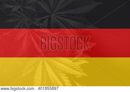 Cannabis Legalization In The Germany. Medical Cannabis In The Germany. Leaf Of Cannabis Marijuana On