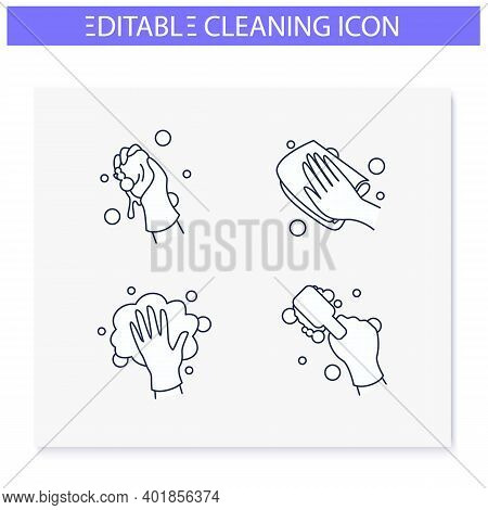 Surface Wiping Line Icons Set.housekeeper Hand In Glove Collection.wet Cleaning With Sponge, Brush A