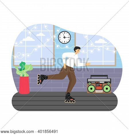 Man Enjoying Roller Skating Indoors, Flat Vector Illustration. Active Lifestyle. Sport And Recreatio