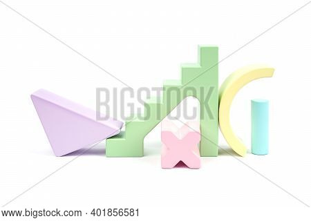 Abstract Pattern With Wooden Figures. Children's Wooden Construction Kit. Yellow, Green, Lilac, Pink