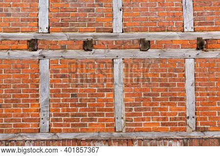 Background Texture Of A Half-timbered Construction With Brickwork