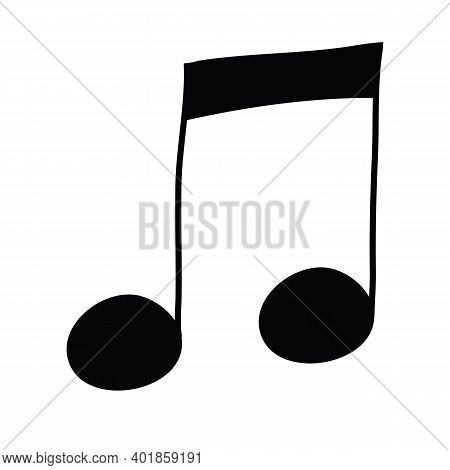 Eighth Note, Two Eighth Notes Under One Edge, Musical Notation Hand Drawn Vector Illustration