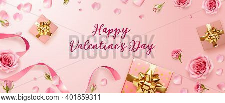 Valentines Day Background With Rose Petals And Rose Buds. Rose Flowers With Pink Ribbon And Gift Box