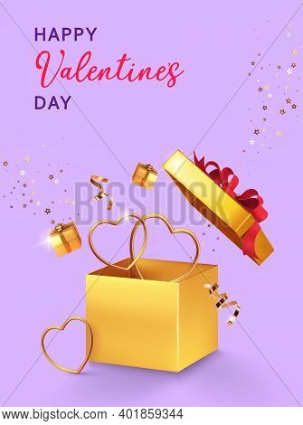 Valentines Day Design. Open Gold Gift Box With Assortment Boxes, Golden Hearts, Confetti On Lilac Ba