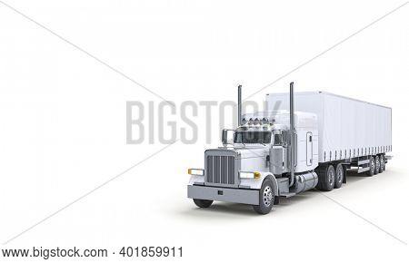 white truck for transportation. logistics and transportation concept. 3d render