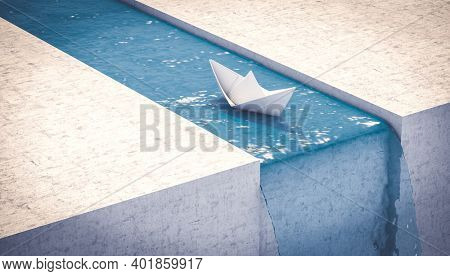 paper boat sailing to a waterfall. concept of unexpected problems. 3d render.