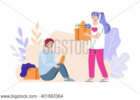 Female Volunteer With Cardboard Box Full Of Products Donation Food To Homeless Poor Man. Volunteerin