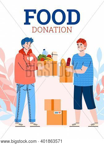 Food Donation Banner Or Poster Design With Cartoon Characters Of Volunteers, Flat Vector Illustratio