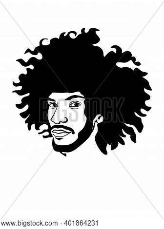 Vector Silhouette Drawing Of The Head Of A Black African American Afro Man With Lush Curly Hair.male