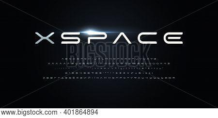Space Style Alphabet. Futurism Font, Minimalist Type For Modern Futuristic Logo, Monogram, Digital D