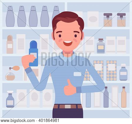 Perfume, Cologne Shop Male Employee, Sales Assistant. Smiling Guy Happy To Help Choosing, Finding Fr