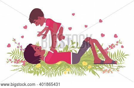 Mom And Baby Daughter, Black Mother Throwing, Tossing Child. Happy Motherhood, Female Health, Parent
