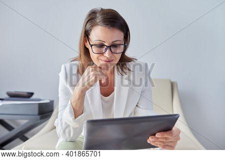 Female Psychologist, Psychiatrist Looking At Webcam Digital Tablet. Video Conference, Specialist Tal