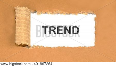 Trend Text On Torn Cardboard. Trends In Clothing.