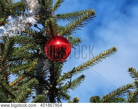 Red Christmas Bauble Shining In Bright Sun And Green Fir Tree Branches Against Bright Blue Sky