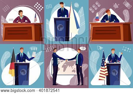 Diplomacy Composition Set With International Politics Symbols Flat Isolated Vector Illustration