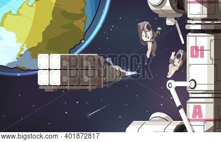 Space Mission Background With Astronauts In Spacesuits Flying In No Gravity Outer Cosmos Near Intern