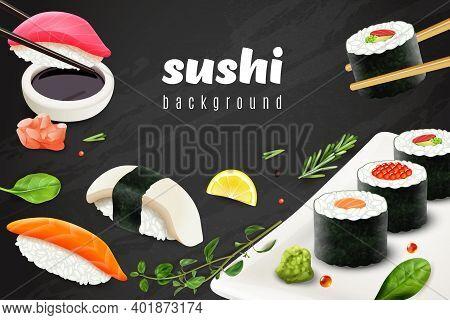 Realistic Sushi Background With Japanese Food Restaurant Symbols Vector Illustration