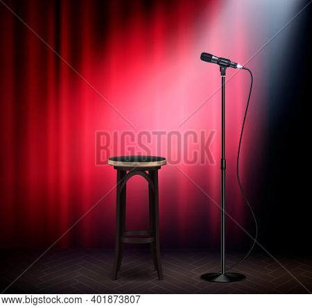 Stand Up Show Comedy Stage Attributes Realistic Image With Microphone Bar Stool Red Curtain Retro Ve