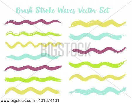 Colorful Brush Stroke Waves Vector Set. Hand Drawn Blue Green Brushstrokes, Ink Splashes, Watercolor