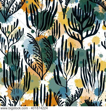 Ocean Corals Seamless Pattern., Australian Staghorn And Pillar Corals Branches.