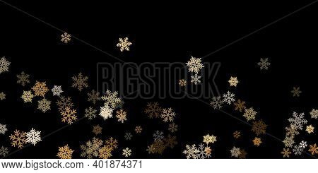Winter Snowflakes Border Minimal Vector Background. Macro Snow Flakes Flying Border Illustration, Ca