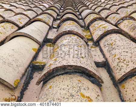 Perspective View Of Roof Tiles. Background Of Arabic Tiles Or Curves. Construction Detail Close Up.