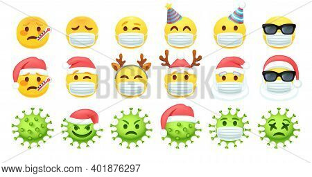 Covid Face Masks, Coronavirus Xmas And Yellow Emoticon With Fever And Thermometer.