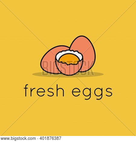 Eggs Logo. Linear Eggs With Egg Shell And Yolk