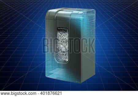 Visualization 3d Cad Model Of Paper Shredder, Blueprint. 3d Rendering