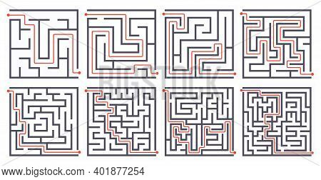 Find Way Game, Different Level Labyrinths With Path Line Vector Illustration Set