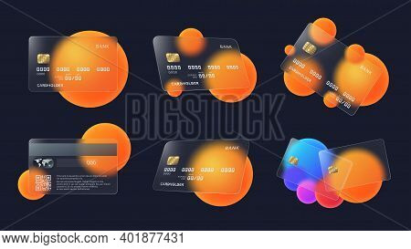 Glass Credit Card With Abstract Circles And Soft Matte Transparency Effect Vector Illustration Set.