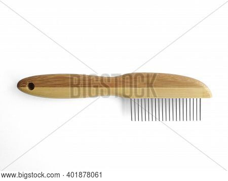 Wooden Pet Bristle Brush Isolated On White Background. Care Of The Coat Of Dogs, Cats With A Brush O