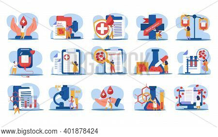 Blood Donation Set With Blood Test And Expertise Symbols Flat Isolated Vector Illustration