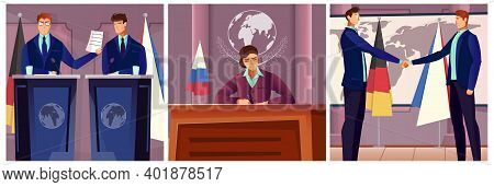 Diplomacy And Politics Set With Negotiation Symbols Flat Isolated Vector Illustration
